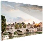 Zonsondergang Rome Glas 30x20 cm - Foto print op Glas (Plexiglas wanddecoratie)