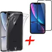 Transparant Hoesje voor Apple iPhone Xr Soft TPU Gel Siliconen Case + Tempered Glass Screenprotector Full Screen iCall