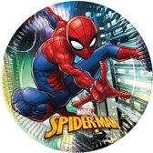 16x Marvel Spiderman themafeest bordjes/borden 23 cm - Gebaksbordjes - Kinderfeestje papieren tafeldecoraties