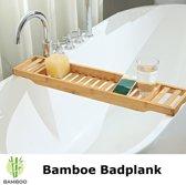 Bamboe badrekje voor over bad – 70 cm lang – Badplank / badbrug geschikt voor telefoon – Basic bad tafeltje van hout - Decopatent®