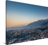 Het Turkse Bursa bij zonsopkomst Canvas 90x60 cm - Foto print op Canvas schilderij (Wanddecoratie woonkamer / slaapkamer)