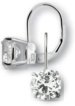 New Bling 9NB-0055 - Zilveren oorhangers - zirkonia rond 8 mm - zilverkleurig