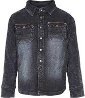 Minymo - jongens spijkerblouse - knit denim overhemd - blauw - Maat 110