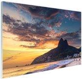 Avondlucht  Rio de Janeiro Glas 180x120 cm - Foto print op Glas (Plexiglas wanddecoratie) XXL / Groot formaat!