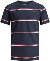 Jack & Jones Junior t-shirt jongens - blauw - JORherringbone - maat 128