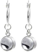 Behave® Oorbel hanger zilver kleur met steentje 3 cm