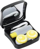 Lenzendoosje Partylens® - zwart/geel inclusief spiegeltje - 5 delig 6x6 cm