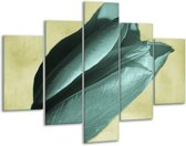 Glasschilderij Tulp | Blauw, Zwart, Groen | 100x70cm 5Luik | Foto print op Glas |  F003759