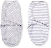 SwaddleMe Original Swaddle inbakerdoek - 2-pack Grijs stippen/strepen - Small