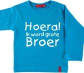 T-shirt lange mouw    Hoera! ik word grote broer  aqua   maat 98/104