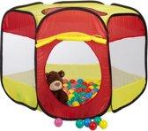 relaxdays ballenbak met 100 ballen - ballenbad voor kinderen - pop up speeltent rood-geel