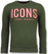Local Fanatic ICONS - Merk Sweater Mannen - 6349G - Groen - Maten: XL