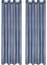 Glasgordijnen geweven gestreept 140x245 cm blauw 2 st