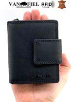 Lederen portemonnee RFID Van Fiel zwart