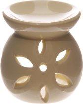 Geel Keramiek Oliebrander met uitgesneden bloemblad, 7.5cm