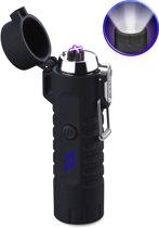 SuperLit – Elektrische Aansteker | Waterdicht met LED Zaklamp | Oplaadbare plasma aansteker | Aansteker met Militaire zaklamp | Survival set - Zwart