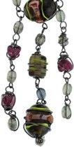 Behave ® - korte ketting dames met hanger en bewerkte glaskralen in bruin grijs rood