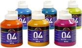 A-color acrylverf, kleuren assorti, 04 - glitter, 6x500 ml