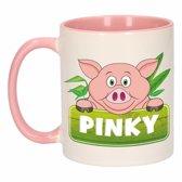 1x Pinky beker / mok - roze met wit - 300 ml keramiek - varkens bekers
