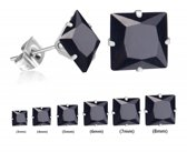 Stalen oorbellen zirkonia vierkant 6mm zwart