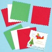 Blanco minikaarten met feestelijke groeten - creatieve knutselpakket voor kinderen en volwassenen om te maken kerstkaarten (20 stuks)