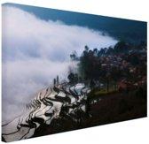 Rijstvelden in de mist China Canvas 30x20 cm - Foto print op Canvas schilderij (Wanddecoratie)