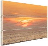 Zonsondergang in de zee Hout 80x60 cm - Foto print op Hout (Wanddecoratie)