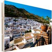 Witte gebouwen van Málaga in Spanje Vurenhout met planken 160x120 cm - Foto print op Hout (Wanddecoratie) XXL / Groot formaat!