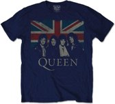 Queen Vintage Union Jack Mens Navy TS: XL