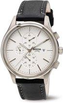 Boccia Titanium 3756-01 Horloge - Leer - Zwart - 42 mm