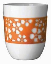 Q-Do Beker Porselein - Dubbelwandig - Siliconen - Bloemmotief - Oranje - Set van 2 stuks