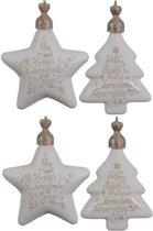 Glas Sterren En Kerstbomen Met Tekst 2 Box A 2 Stuks Gold