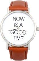 Hidzo Horloge Now Is A Good Time ø 37 mm - Bruin - In horlogedoosje