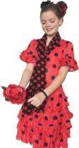 Spaanse jurk - Flamenco - Deluxe - rood zwart - kledingmaat 140/146 (12) - verkleedkleding