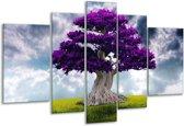 Glasschilderij Boom | Paars, Grijs | 170x100cm 5Luik | Foto print op Glas |  F005885