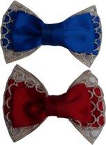 Jessidress Elegante Set van haarclips met grote haarstrik - Blauw/Rood