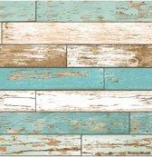 Reclaimed Scrap Wood beige/blauw behang (vliesbehang, blauw)
