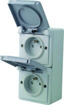 NIKO Hydro opbouw stopcontact - deksel - penaarde - dubbel - verticaal - spatwaterdicht