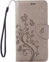 Mobigear Wallet Book Case Pressed Flowers Grey iPhone 7 / 8