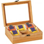 FSC® Bamboe Theedoos met 6 Vakken   Theekist Bamboe hout   Met deksel en venster   Thee Doos / Thea Box    Afm. 21,7 x 16 x 9 Cm.