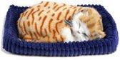 Pluche slapende kat rood