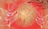 Fotobehang Bloemen | Rood | 416x254