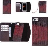 Celkani ® Telefoonhoesje voor Apple iPhone 7 - Luxueuze lederen 2in1 hoesje in vorm van een portemonnee met afneembaar leren armbandje -  Book cover type - Magnetisch leren behuizing en ruime magnetische omslag - Rood echt kalfsleer - Handgemaakt