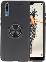 Softcase voor Huawei P20 Hoesje met Ring Houder Zwart