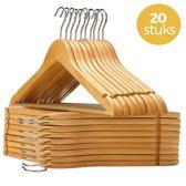 LifeGoods 20 Houten Kledinghangers - Met broeklat - 20 Stuks