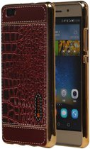 Huawei P8 Lite Rood   M-Cases Croco Design backcover hoes    WN™