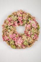 Viv! Home Luxuries Hortensia krans - zijde - roze groen - 46cm - topkwaliteit