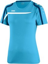 Jako - T-Shirt Performance Dames - aqua/wit/marine - Maat 34 - 36