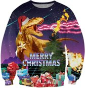 Foute retro kersttrui met cadeaus en T-Rex Maat: XL