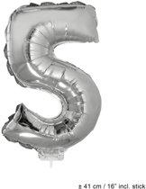 Helium Ballon Nummer 5 - Zilver - 41 Cm